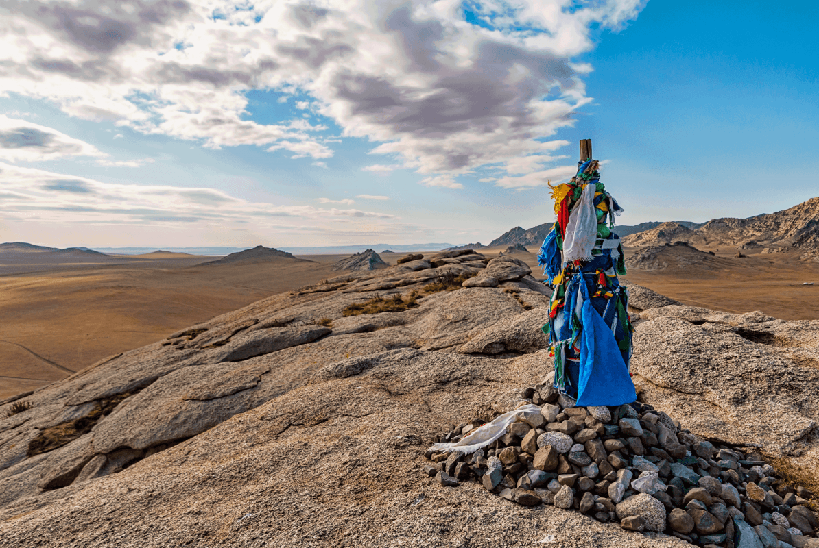 Mongolian Ovoo in the Desert Steppes